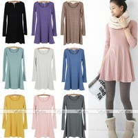 Fashion Women Korean Style Solid Plain Soft Long Sleeve Mini Dress Skirts Casual