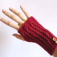 Fingerless Gloves for women. Hand knitted hand warmers red. Women accessories.