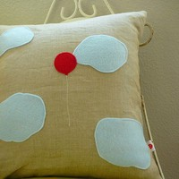 One Red Balloon Pillow Cover by OIive on Etsy
