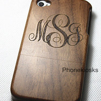 Custom Order Monogram, wood iPhone 4/4s case, wood iphone 5 case, wood iphone 5s case, wooden iPhone 5c, wood 5c, Monogram