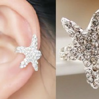 Sparkly Starfish Rhinestone Ear Cuff (Single, No Piercing)