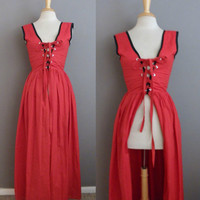 Vintage 80s does Lipstick Red Renaissance Dirndl Period Re-enactment Costume Lace Up Corset Maxi Dress