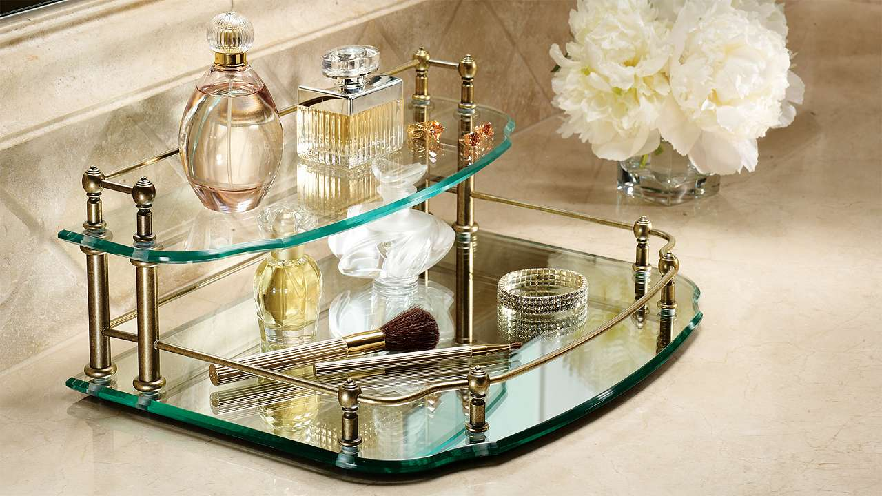 Belmont two tier mirrored vanity makeup from frontgate for Mirrored bathroom tray