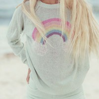 Wildfox Couture Island Rainbow Mini 70's Sweater in Faded Aqua