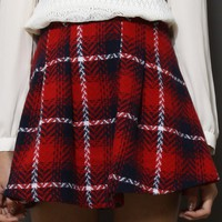 Tartan Twill Skater Skirt in Red