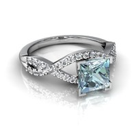 Genuine Aquamarine 14kt White Gold Engagement Ring