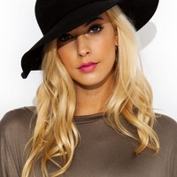 3 Inch Wide Brim Wool Hat