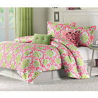 Paige Lime Coral Full Bed Set