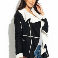 Shearling Lined Faux Suede Jacket