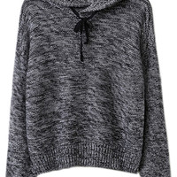 ROMWE Drawstring Hooded Long Sleeves Grey Jumper