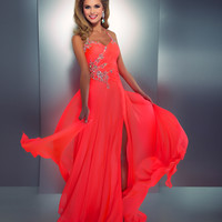 Mac Duggal 2014 Prom Dresses - Neon Coral Stone Embellished & Ruched Halter Chiffon Gown