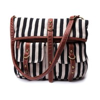 Womens Fold Over Stripe Handbag