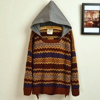Retro Hit Color Embroidered Big Yards Sweater from Girl boutique