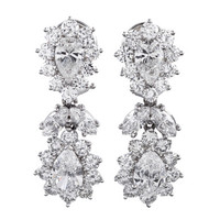 1950s Fancy Shaped Diamond Cluster Drop Earrings