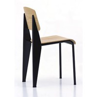 Vitra Standard Chair - Red Frame with Dark Oak Seat and Back