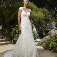 Gorgeous Empire Sweetheart Lace Net White Chapel Train Wedding Dress - Wedding Dresses Canada Online