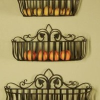 Tuscan Iron Hand Forged Metal Planters, Shelves, Set of 3