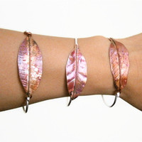 Leaf Bracelet - Copper Silver Bracelet - Mixed Metal Bangle - Forged Leaf - ONE Bracelet - Made to Order