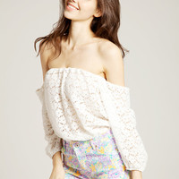Eyelet Off Shoulder Top - LookbookStore