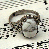 Howlite Stone Ring - White and Silver - $17.50 : RagTraderVintage.com, Vintage Reborn