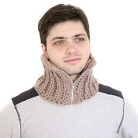 Knitted warm wool brown infinity man neck warmer, skiing scarf with zipper