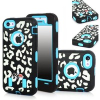 Bayke Brand 3in1 Armorbox Armor Defender Bumper Case for Apple Iphone 5C (5 & 5S Not Fit) Fashion Leopard Print Design High Impact Dual Layer Hybrid Full-body Protective Case (Sky Blue / Screen Protector not Include)