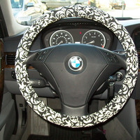 Black and White Steering Wheel Cover