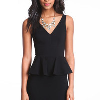 V CUT PEPLUM DRESS