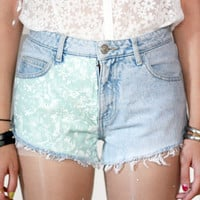 Denim Cut-off Floral Shorts | Tarte Vintage