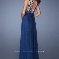 Navy Floor Length La Femme Prom Dress