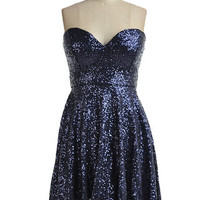 Fame & Fortune Sequin Sweetheart Dress - Navy