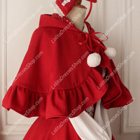 Cute Red Wool Cape Flouncing Lolita Coat