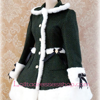 Green Lattice Lapel Long Sleeves Button Lolita Coat
