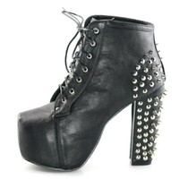 Womens spike stud lace up high block chunky heel platform shoes booties boots