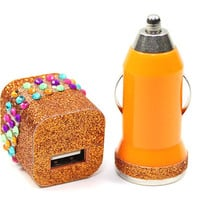 3in1 Orange Glitter Hawaii Love Phone Charger - For Samsung, iPhone and other Smartphones