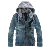 Fancy Dress Store Men's Super Star Cow Jeans Hooded Denim Motorcycle Jacket