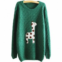 Partiss Women Giraffe Print Knitwear Sweater Small Green