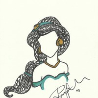 Princess Jasmine Zen Tangle Art Print by Jadie Miller