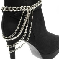 1 Trendy Chunky Silver Link Multi Strand Layered Four Tier Anklet Heel Chain For Shoe Boot High Heel Stiletto Fashion Jewelry
