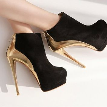 New Arrival Suede Ankle Boot Women Platform Shoes Sexy Golden High Heels (Black + Golden, US 7.5 / 38)