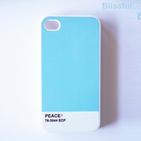$14.99 iphone 4 case  skyblue colortone peace by BlissfulCASE on Etsy