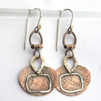 Coin Earringsr Mixed Metal Sterling and Copper with by ExCognito