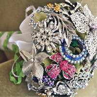 Vintage Rhinestone Brooch Bridal Bouquet - One Of A Kind Heirloom For Your Wedding Day - Ready To Sh | Luulla