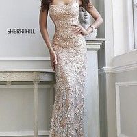 Long Open Back Lace Formal Gown