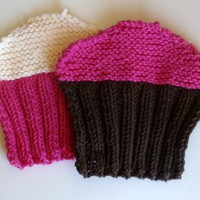 Cupcake hand knitted washcloths set of 2