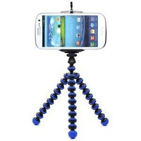 CellCase Octopus style Portable Adjustable Tripod Stand with Retractable Holder for Apple iPhone 3G 3GS 4 4s iPhone 5 5c 5s Samsung Galaxy s3 i9300 s4 i9500 (Black & Blue)