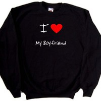 I Love Heart My Boyfriend Black Sweatshirt