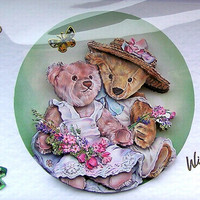 Teddy Bear Hand-Crafted 3D Decoupage Card - With Love (1685)