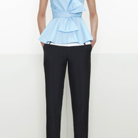Cross Draped Front Peplum Bow Blouse by Prabal Gurung for Preorder on Moda Operandi