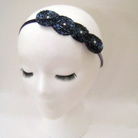 1920s style Gatsby Daisy Buchanan, Downton Abbey Lady Mary art deco flapper headband fascinator dark gray blue hematite beaded rhinestone